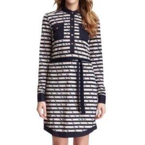 Tory Burch Suzette navy/ tan stripe shirt dress xs